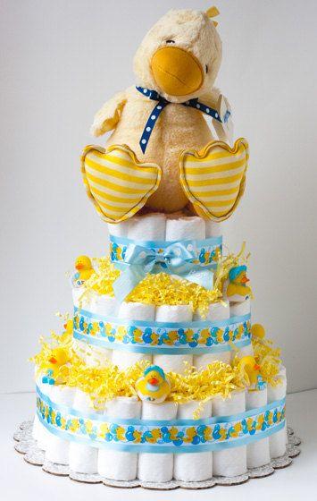 Diaper Cake GUND Baby Duck Baby Shower Gift  Boy by BettyCakes13,