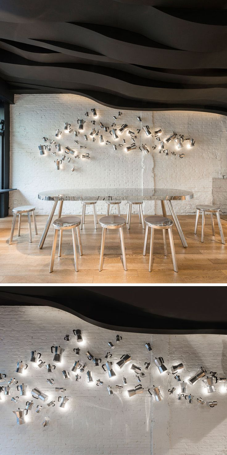 This artistic installation in a cafe is made from iconic Moka coffee pots.