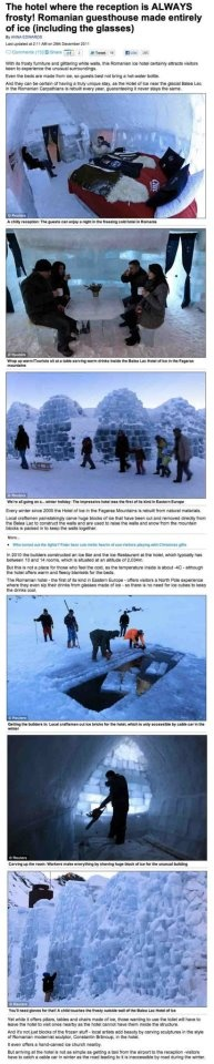 Ice Hotel Romania and Untravelled Paths featured in the Daily Mail Online, 29th December 2011.  untravelledpaths.com