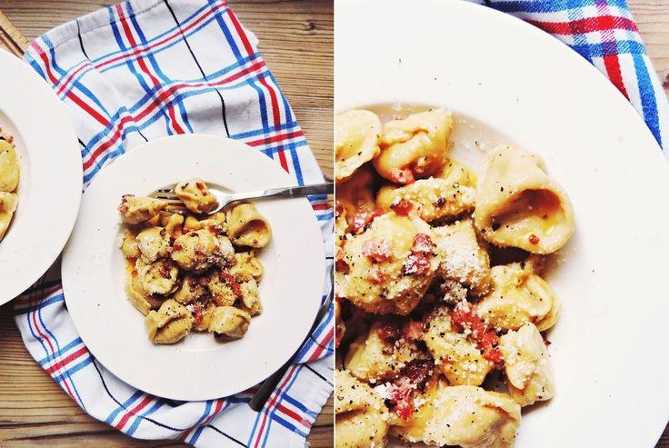 Hausgemachte Tortellini á la Carbonara