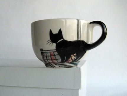 Black cat cup: for Bree.  Use the black sharpie then bake