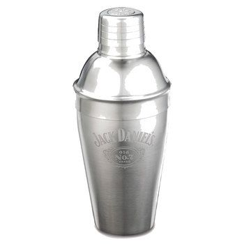 Stainless Steel Cocktail Shaker Etched Jack Daniels Logo - Engravable Gift Item