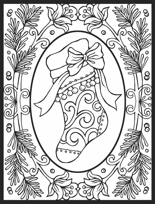... Christmas Coloring Pages, Dover Publications, Adult Christmas Coloring