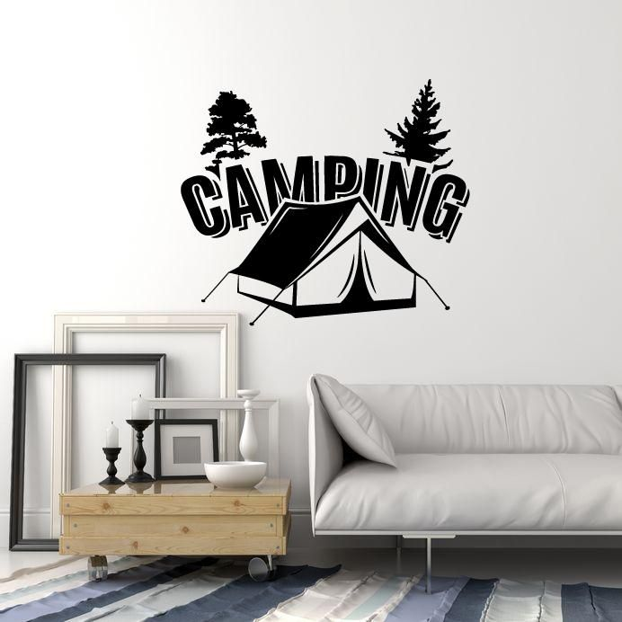 vinyl wall decal camping tent camp trees nature room art on wall stickers for hall id=36766