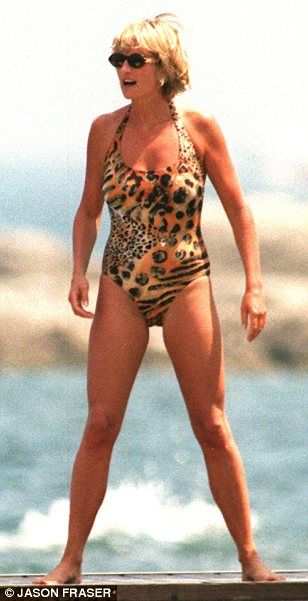 Princess Diana's beachwear style in  animal print swimsuit