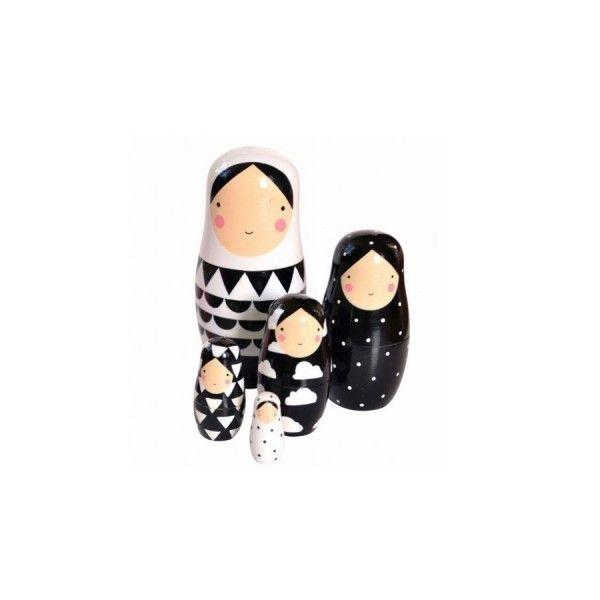 Gigognes matryoshka noir et blanc en bois Helen Dardik