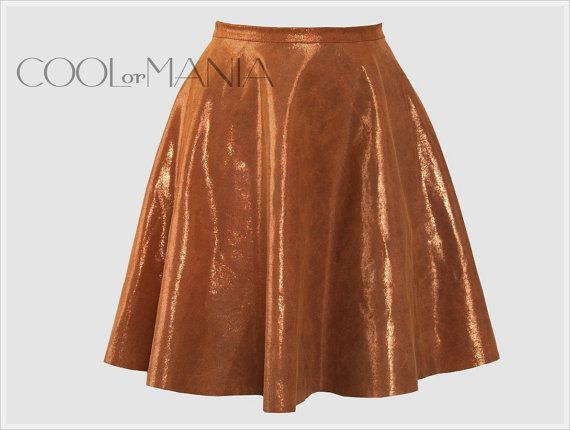 Natural  Leather Skirt   Glossy Skirt  Color Copper by COOLorMANIA