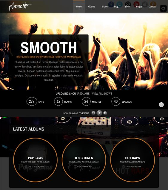 This music WordPress theme has a responsive layout, a countdown timer, audio players and playlists, a page builder, a shortcode generator, 2 header styles, WooCommerce compatibility, SEO optimization, and more.