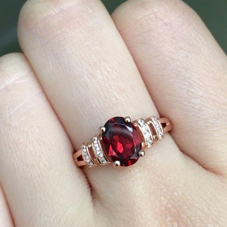 Granat Ring aus Sterling Silber - Rosegold vergoldet - Größenverstellbar