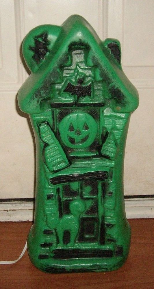 Vintage+Green+Haunted+House+Halloween+Blow+Mold+Yard+Table+Top+Light+Decoration+