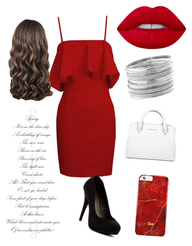 """glamour en robe de soirée"" by cheridane ❤ liked on Polyvore featuring Lime Crime, Michael Antonio, Michael Kors and Avenue"