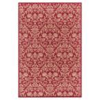 Jewel Damask Red 7 ft. 10 in. x 9 ft. 10 in. Area Rug