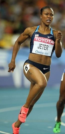 Jeter running the 100m at the 2012 Olympics