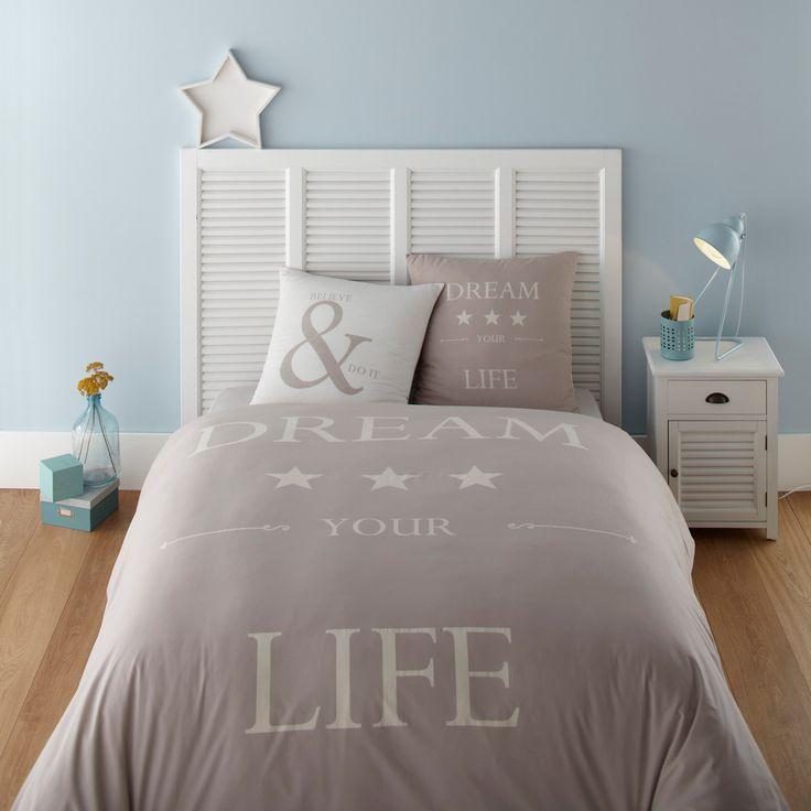 Parure de lit 220 x 240 cm en coton grise et blanche DREAM