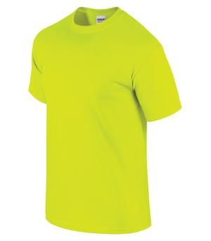ULTRA COTTON® T-SHIRT, Safety Green. #2000. For details on how to order this item with your logo branded on it contact ww.fivetwentyfour.ca #promoitems #promoproducts  #Highvis  #safetytshirt