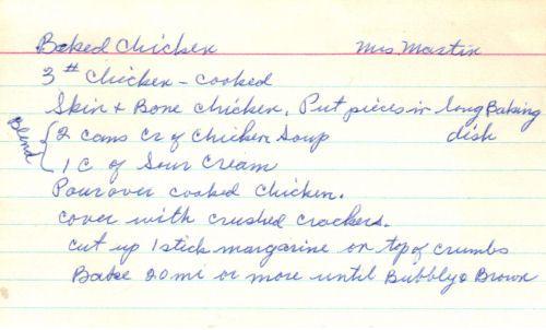 Handwritten Recipe Card For Baked Chicken