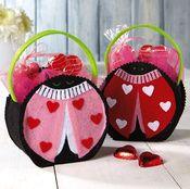 6 Valentine Ladybug Felt Bags