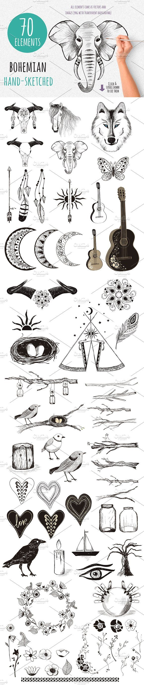 Gypsy Tales – Bohemian Sketches  by Friendly Label on @creativemarket