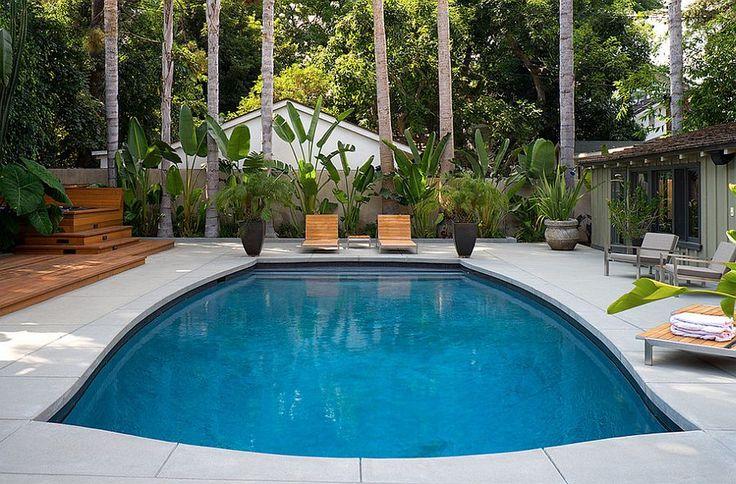 Unique pool design with concrete coping and pool decking [Design: Rebuilt / Brian Jones Photography]
