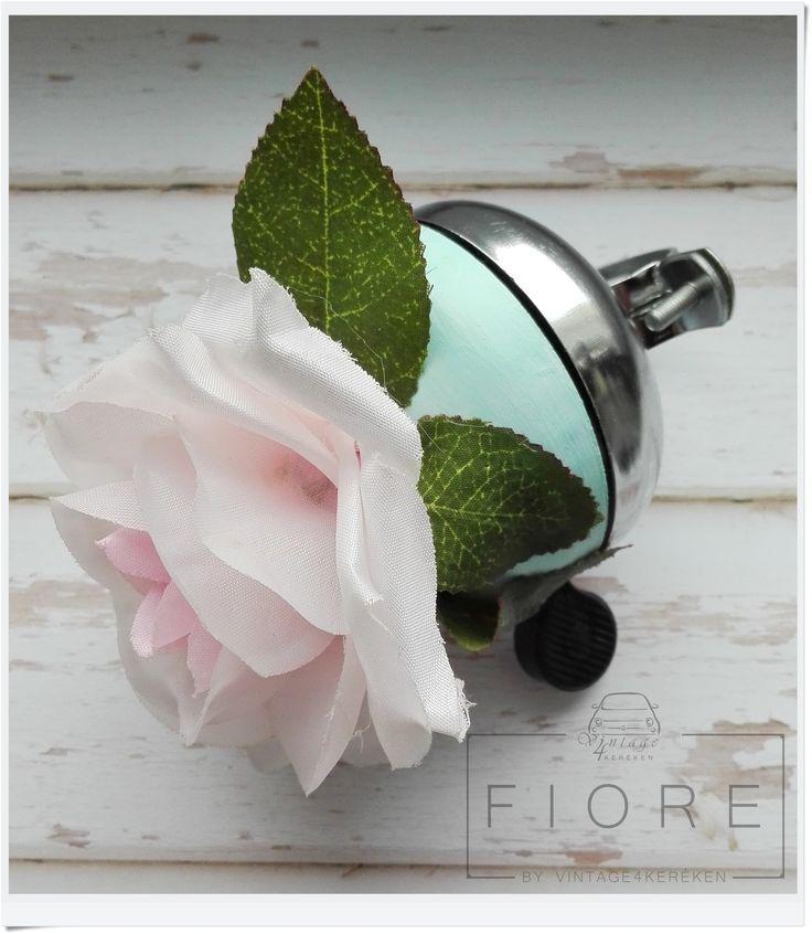 Shabby chic bike bell with rose. Handmade items. Shabby chic stílusú bicikli csengő rózsával. Kézműves termék. #bikebell #shabbychic