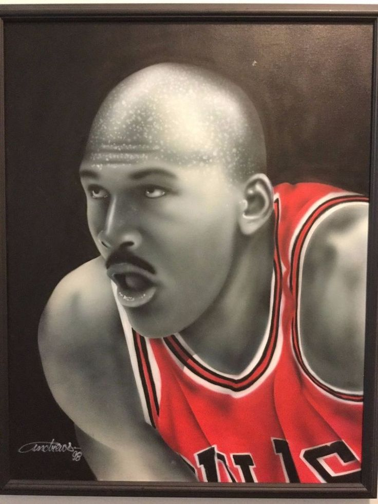 98 Original Portrait Michael Jordan Bulls Framed Painting Fathers Day #ChicagoBulls