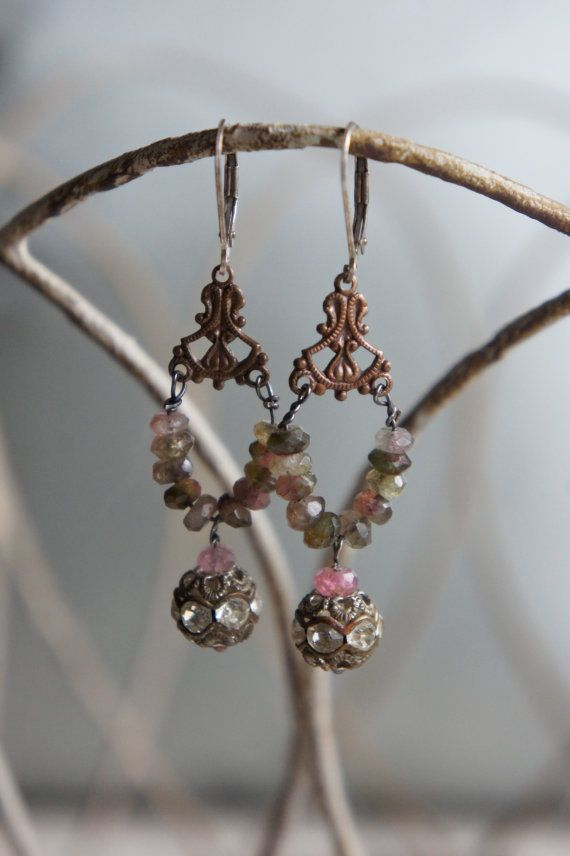 Vintage assemblage earrings tourmaline by frenchfeatherdesigns, $48.00