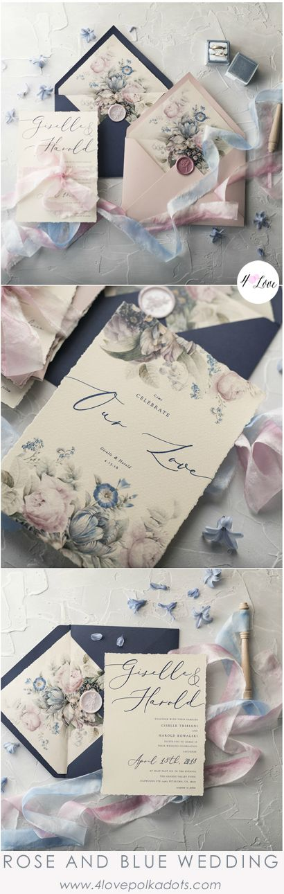 Beautiful wedding invitations in Rose quartz and Serenity blue color scheme. Modern calligraphy combined with romantic floral printing is just a perfect detail for your Special Day. All fully assembled and completely customizable from $6,30  #wedding