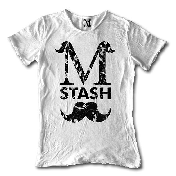 M01-19A // LOGO FLOREAL // round neck tee flaming fabric // 100% cotton made in Italy // #mstash #tshirt #mustache