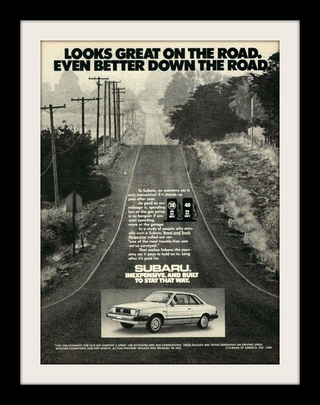 "An original 1981 advertisement for Subaru Sedan car. Photo ad print of the open road. ""Looks great on the road. Even better down the road"" -A vintage 1981 Subaru advertisement -Measures: 8"" x 11"", ori"