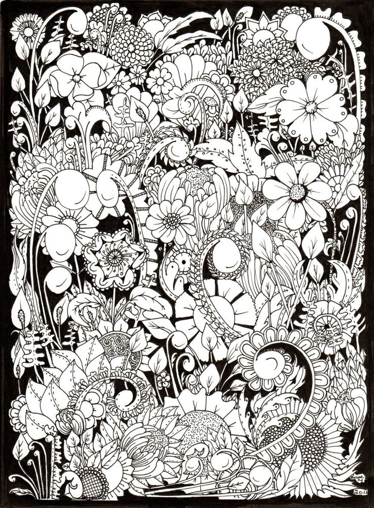 Flower Garden on black by ColourItByLynneMcGee on Etsy