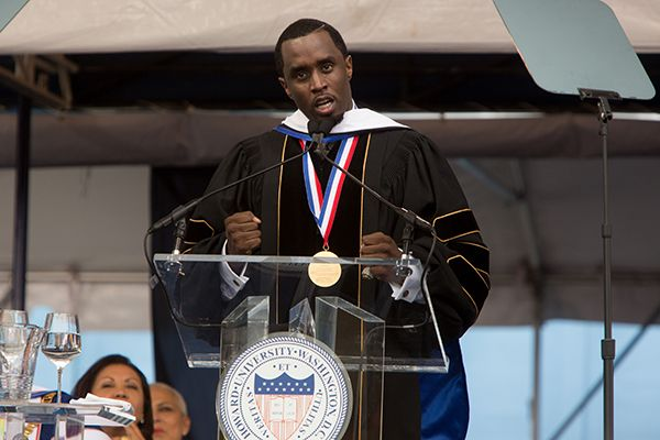 """Sean """"Puff Daddy"""" Combs  delivers the commencement speech at Howard University's 146th commencement in Washington, D.C."""