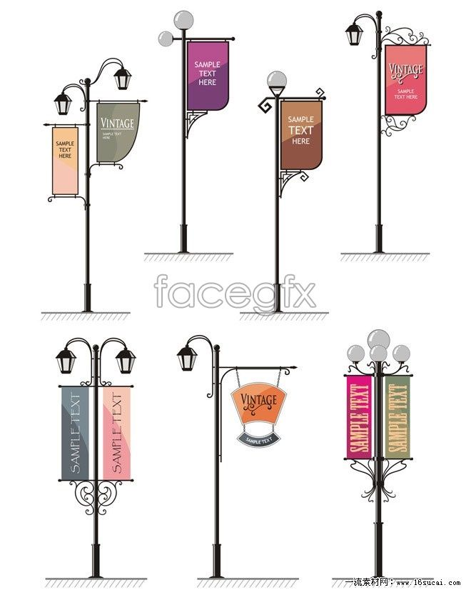 Street light banner design vector