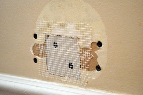 how to repair a medium-sized hole in drywall, tutorial with all the steps and supplies needed,  patch drywall,  drywall repair,  fix hole in wall.