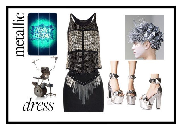 Heavy Metal Metallic Dress by sabine-713 on Polyvore featuring Mode, Isabel Marant, Anthony Vaccarello, Casetify, Current Mood, fashiontrend, fashionset, metallicdress and promobine