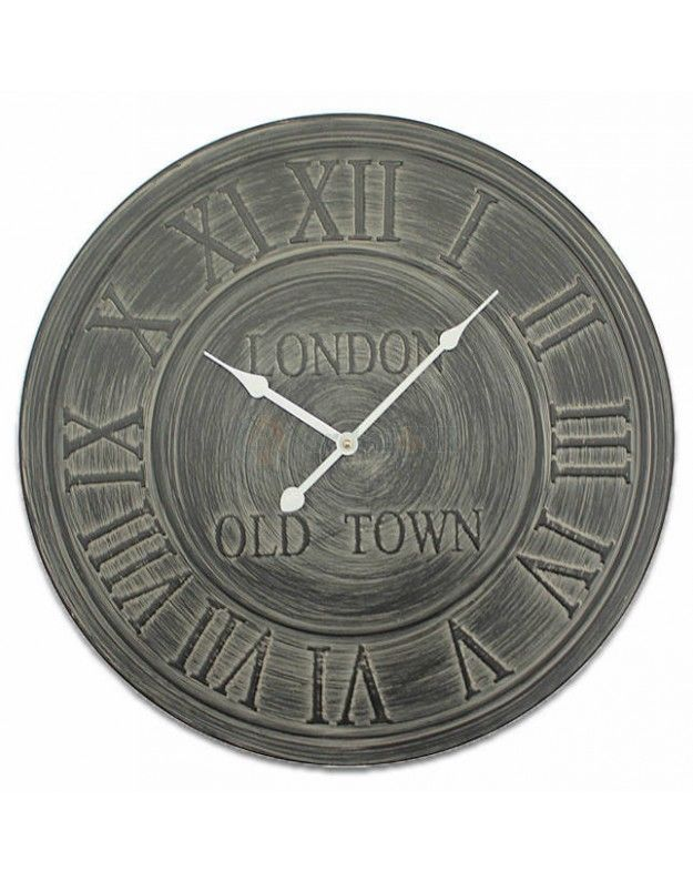 "Metallic Wall Clock ""LONDON"" Gray 60 CM"