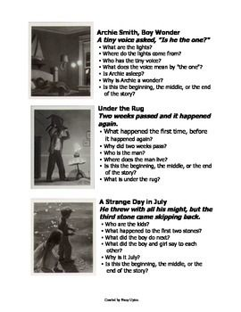 These questions and pictures were taken from Chris Van Allsburg's Mysteries of Harris Burdick website. I have put them together and formatted them so they could be cut into strips for each student.