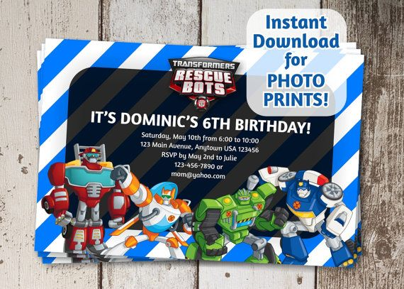 Transformers Rescue Bots Birthday Party Invitation - Instant file download - Can use to order photo prints! (or card stock, too!)