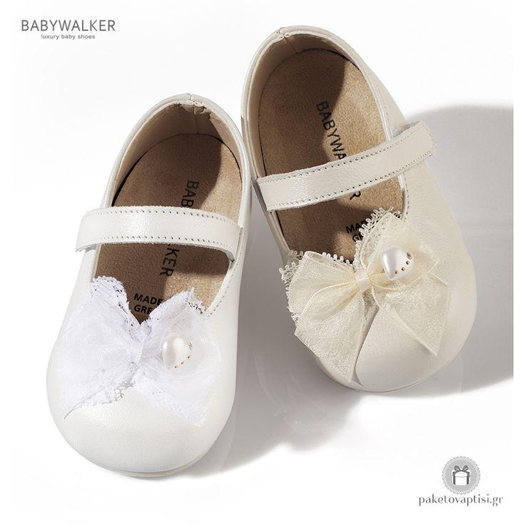 Παπουτσάκια για τα Πρώτα Βήματα με Φιογκάκι από Οργαντίνα και Διακοσμητική Καρδούλα Babywalker PRI2515