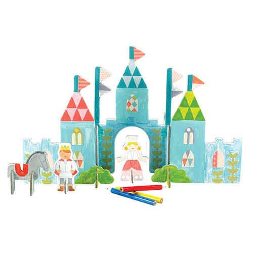 Beautifully illustrated Pop Out Castle by Petit Collage!  Colour in, pop-out and piece together your very own royal family and castle!  Made with 80% recycled content and printed with vegetable inks and packaged in a gorgeous box making it the perfect gift idea!