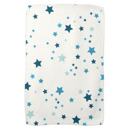 #Stars in multiple shades of blue on white hand towel - #Xmas #ChristmasEve Christmas Eve #Christmas #merry #xmas #family #kids #gifts #holidays #Santa