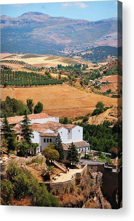 """Acrylic Print of photograph Ronda. White Village Of Andalusia by Jenny Rainbow. Bring your artwork to life with the stylish lines and added depth of an acrylic print. Your image gets printed directly onto the back of a 1/4"""" thick sheet of clear acrylic. The high gloss of the acrylic sheet complements the rich colors of any image to produce stunning results. To buy print please click on image. Order online, delivery, 30 days money back guaranty. #JennyRainbowFineArtPhotography  #Spain  #Ronda"""