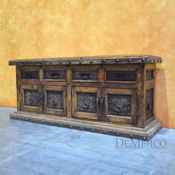 Metal TV Stand, Rustic Entertainment Center, Spanish TV Stand