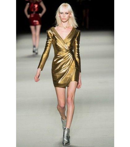 #saintlaurent - metallic woven-lamé dress