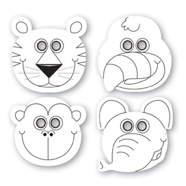 Jungle Buddies Color Your Own Paper Masks (12)... - possible sunglasses! #masks #sunglasses fun