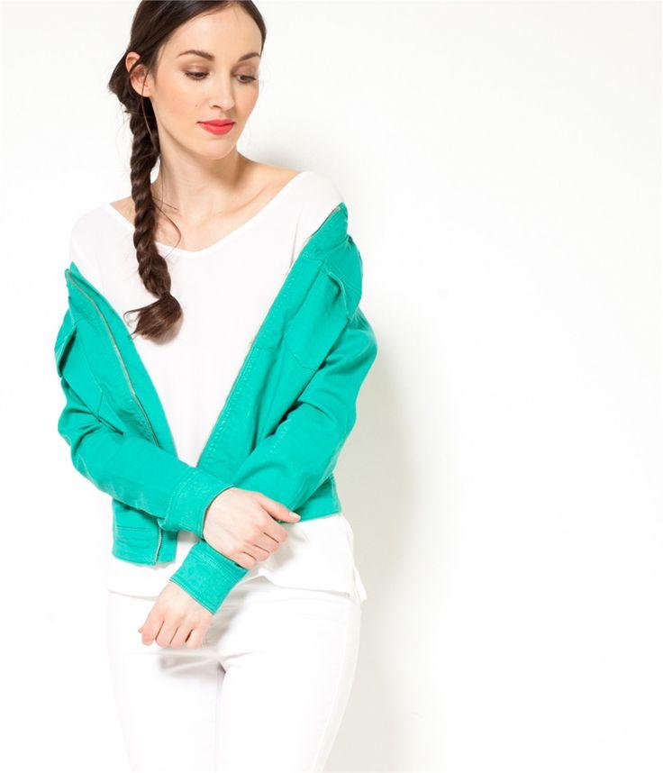 Veste court zippée denim vert menthe Camaïeu 2016