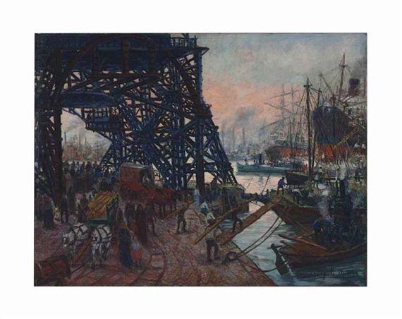 The Bridge at Boca (also known as Puente en La Boca) - Benito Quinquela Martin
