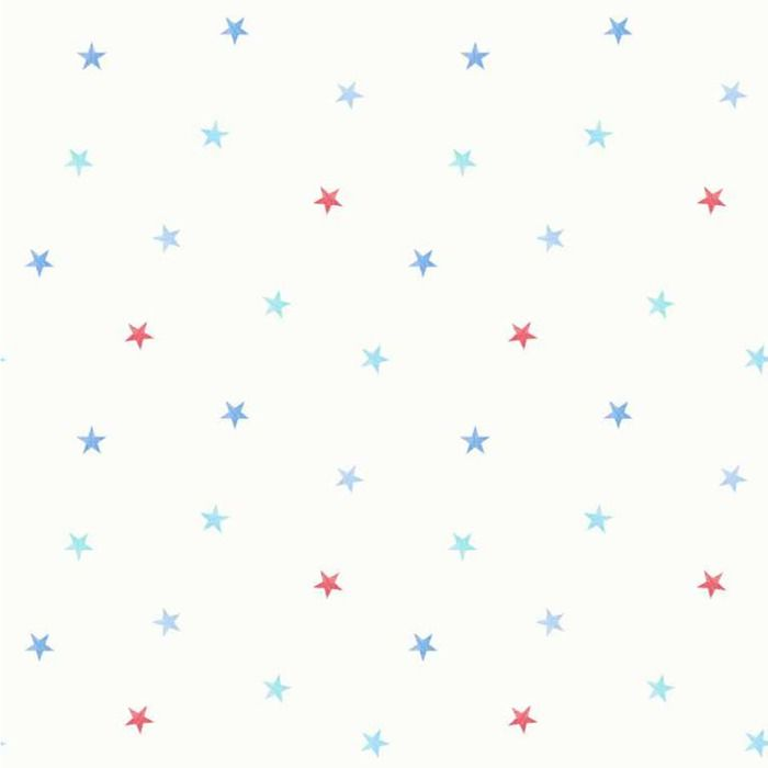 Stars Bedroom Wallpaper - Blue and Red