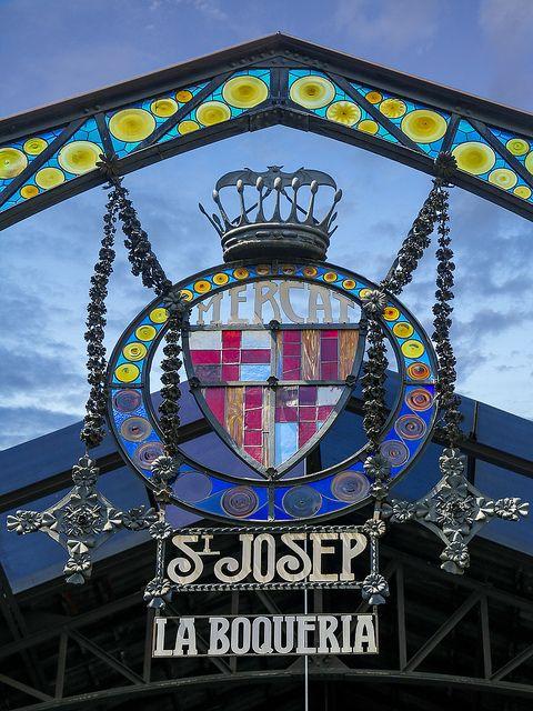 La Boqueria Market Enterance in La Rambla | Barcelona, Catalonia