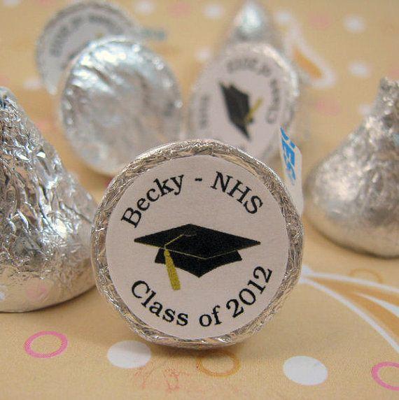 Black Mortarboard Personalized Graduation Hersheys Kisses Stickers Labels Kiss Favors via Etsy