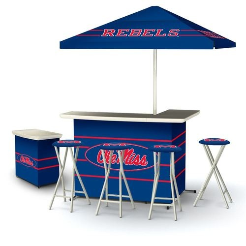 NCAA Ole Miss Rebels Portable Deluxe Tailgate Bar Stool Umbrella BBQ Side  Table